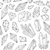 Monochrome seamless pattern with beautiful faceted gemstone  Royalty Free Stock Photo