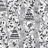 Monochrome seamless pattern with birds, birdhouses and flowering Royalty Free Stock Photos