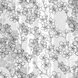 Monochrome seamless pattern with blooming cherry branches. Abstr Royalty Free Stock Photo