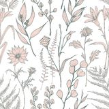 Monochrome seamless pattern with blooming wild flowers hand drawn on white background. Natural backdrop with elegant stock illustration