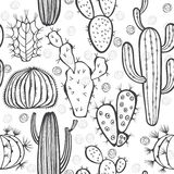 Monochrome seamless pattern with cactus. Vector illustration. Stock Photos