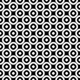 Simple geometric background with staggered perforated circles. Vector seamless pattern, monochrome polka dot texture. Simple geometric background with staggered royalty free illustration