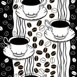 Monochrome seamless pattern with coffee beans and cups. Royalty Free Stock Photos