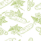 Monochrome seamless pattern of cucumbers Stock Photography