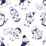 Monochrome seamless pattern with cute baby penguins dressed in various winter clothes on white background. Funny cartoon. Arctic animals. Vector illustration Royalty Free Stock Photo