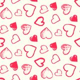 Pattern with cute grunge red and pink hearts. Monochrome seamless pattern with cute grunge pink and red scribbled hearts. Contrast doodle texture for St Royalty Free Stock Photography