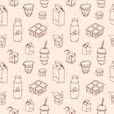 Monochrome seamless pattern with dairy products drawn with contour lines on light background - milk, milkshake, yogurt Stock Images