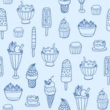 Monochrome seamless pattern with delicious ice cream and milky desserts of various types on white background. Backdrop Royalty Free Stock Photo