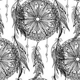 Monochrome seamless pattern dream catcher with feathers Stock Photos