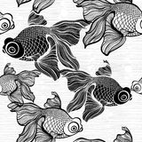 Monochrome seamless pattern with fish. Black and white  il Royalty Free Stock Images