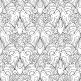 Monochrome Seamless Pattern with Floral Motifs Royalty Free Stock Photos