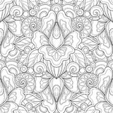 Monochrome Seamless Pattern with Floral Motifs Stock Photos