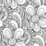 Monochrome Seamless Pattern with Floral Motifs Stock Images