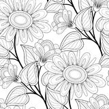 Monochrome Seamless Pattern with Floral Motifs. Endless Texture with Flowers, Leaves etc. Natural Background in Doodle Line Style. Coloring Book Page. Vector Royalty Free Stock Photo