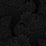 Monochrome Seamless Pattern with Floral Motifs Royalty Free Stock Images