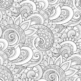 Monochrome Seamless Pattern with Floral Motifs Stock Image