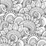 Monochrome Seamless Pattern with Floral Motifs. Endless Texture with Flowers, Leaves etc. Natural Background in Doodle Line Style. Coloring Book Page. Vector Royalty Free Stock Image