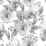 Monochrome seamless pattern with flowers. Iris. Peony. Watercolor illustration. Royalty Free Stock Photo