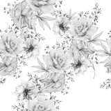 Monochrome seamless pattern with flowers. Rose. Watercolor illustration. royalty free stock images