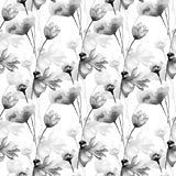 Monochrome seamless pattern with flowers Stock Image