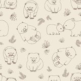 Monochrome seamless pattern with funny wombats and plants hand drawn with contour lines on light background. Backdrop Stock Photo