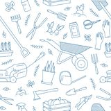 Monochrome seamless pattern with gardening tools or equipment for plant cultivation drawn with contour lines on white vector illustration