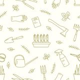 Monochrome seamless pattern with gardening tools, equipment for plants cultivation drawn with contour lines on white vector illustration