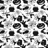 Monochrome seamless pattern Halloween. Vector eps 10 Royalty Free Stock Image