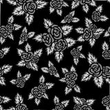 Monochrome seamless pattern. Hand drawn gray roses on black background. Seamless pattern with gray roses and leaves. Hand drawn elements Royalty Free Stock Photos