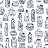 Monochrome seamless pattern with homemade preserves in glass jars and bottles hand drawn with black contour lines on. White background. Vector illustration for Stock Photo
