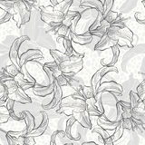 Monochrome seamless pattern with lilies. Abstract floral background with lilies. Black and white  illustration Royalty Free Stock Photography