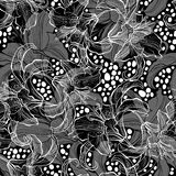 Monochrome seamless pattern with lilies on a black background. Stock Images