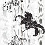Monochrome seamless pattern with lilies. Stock Photography