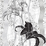 Monochrome seamless pattern with lilies. Royalty Free Stock Image