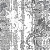 Monochrome seamless pattern with lilies. Hand-drawn floral backg Stock Image