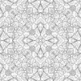 Monochrome Seamless Pattern with Mosaic Floral Motif Stock Image