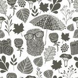Monochrome seamless pattern with owl under the umbrella. Vector endless background Royalty Free Stock Photo