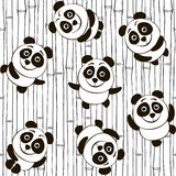 Monochrome seamless pattern with pandas Stock Image