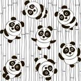Monochrome seamless pattern with pandas Stock Image