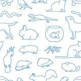 Monochrome seamless pattern with pets drawn with contour lines on white background. Backdrop with domestic animals vector illustration