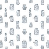 Monochrome seamless pattern with pickled vegetables in glass jars and bottles hand drawn with black contour lines on Stock Photos