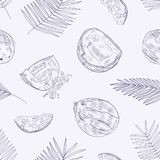 Monochrome seamless pattern with ripe fresh cracked coconuts, blooming flowers and palm tree leaves hand drawn with vector illustration