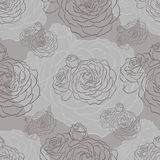 Monochrome seamless pattern with roses Stock Photo