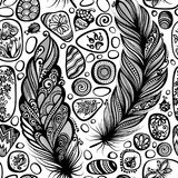 Monochrome Seamless Pattern with Sea Pebbles and Feathers Stock Photography
