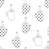 Monochrome seamless pattern with sketching cups. Black and white seamless pattern with sketching cups vector illustration