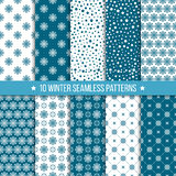 Monochrome seamless pattern with snowflakes. Set  of seamless vintage monochrome patterns with snowflakes. Christmas and New Year design. Vector geometric Royalty Free Stock Photo