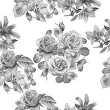 Monochrome seamless pattern with spring flowers. Rose. Tulip. Lilia. Watercolor. Stock Images