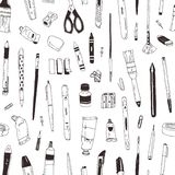 Monochrome seamless pattern with stationery, drawing items, creativity products or office supplies hand drawn with black vector illustration