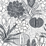 Monochrome seamless pattern with succulents. Stock Images