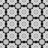 Monochrome seamless pattern vintage ethnic ornament on a black background Stock Photo